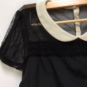 4f7ef55852dd35 Vera Wang Princess Peter Pan Collar Black Top L
